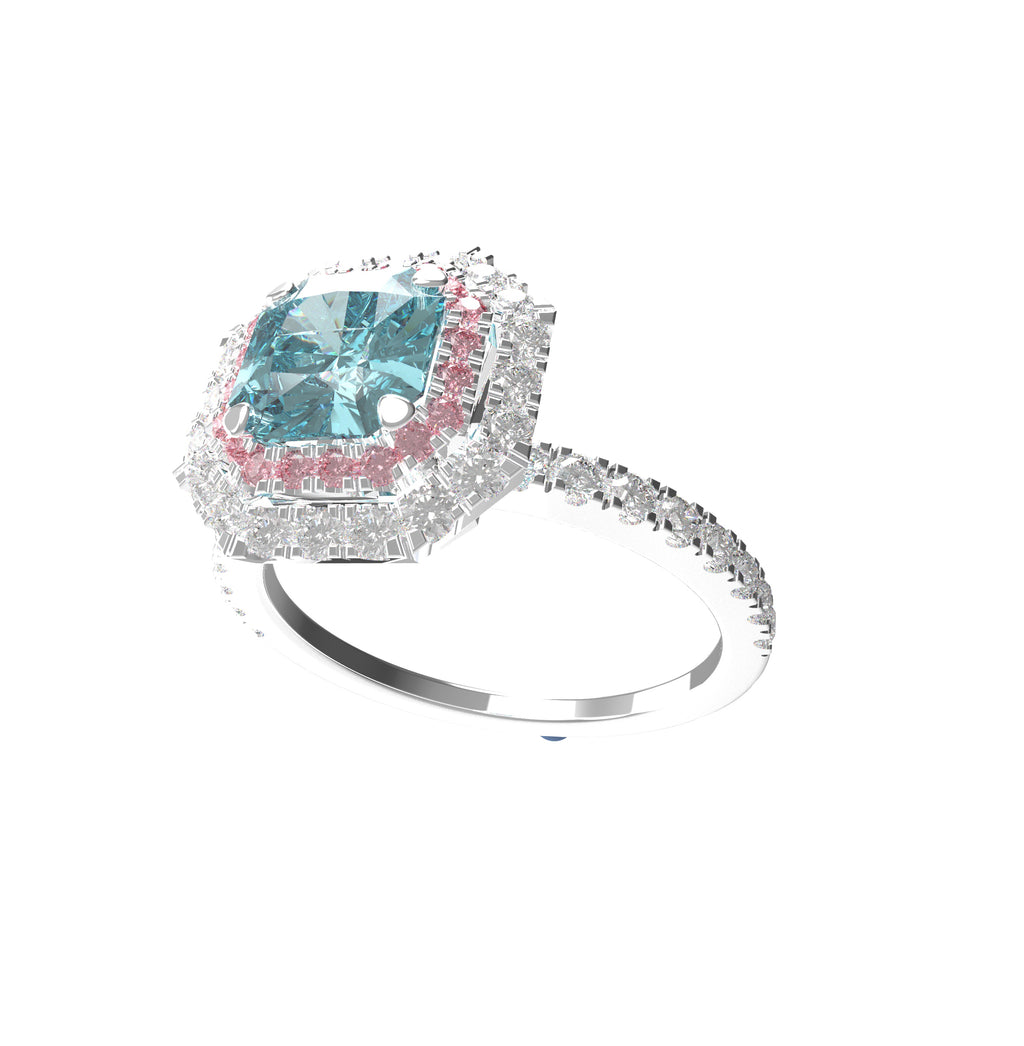 Esjana- Fancy Intense Blue Green & Pink Argyle diamond ring