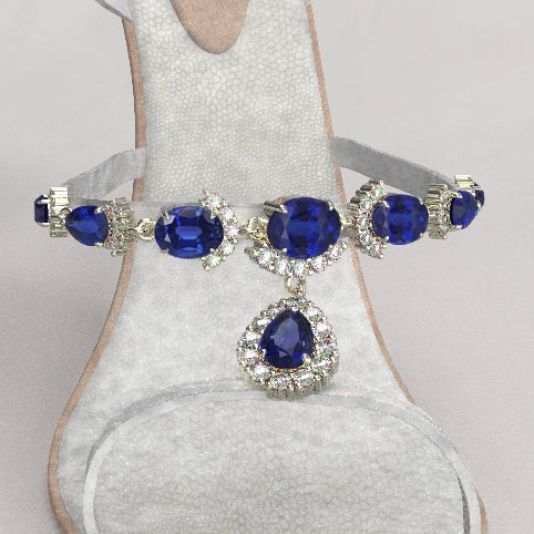 Sandals with sapphires/ rubies and diamonds- Bridal
