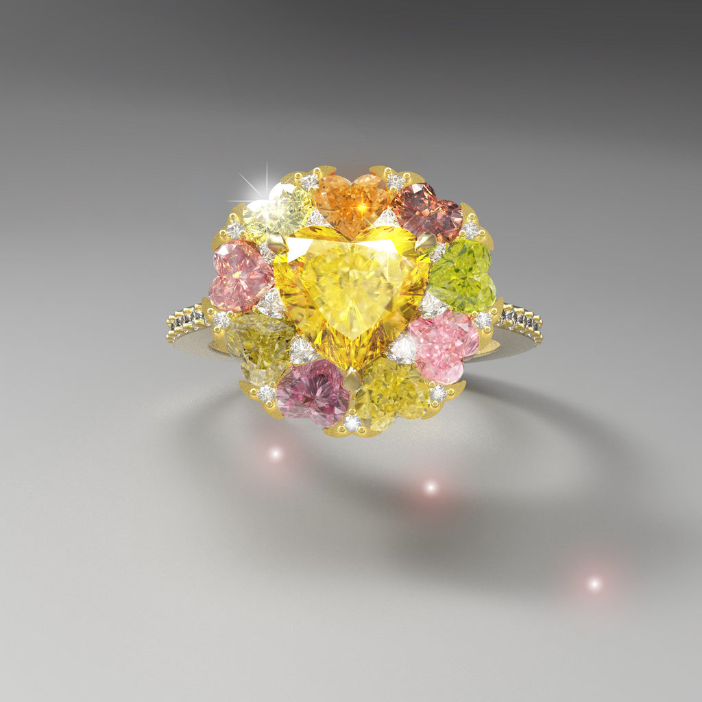 A bouquet of flowers- Fancy Colour diamond ring