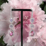 Rhododendron Garden- Diamond and Spinel triplet earrings