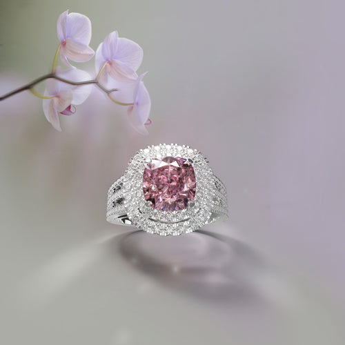 Orchid Garden - Double halo diamond ring