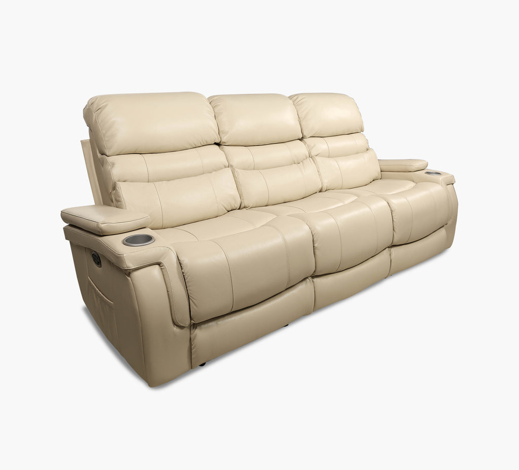 Sirius Cream Power Reclining Sofa With Power Headrest And