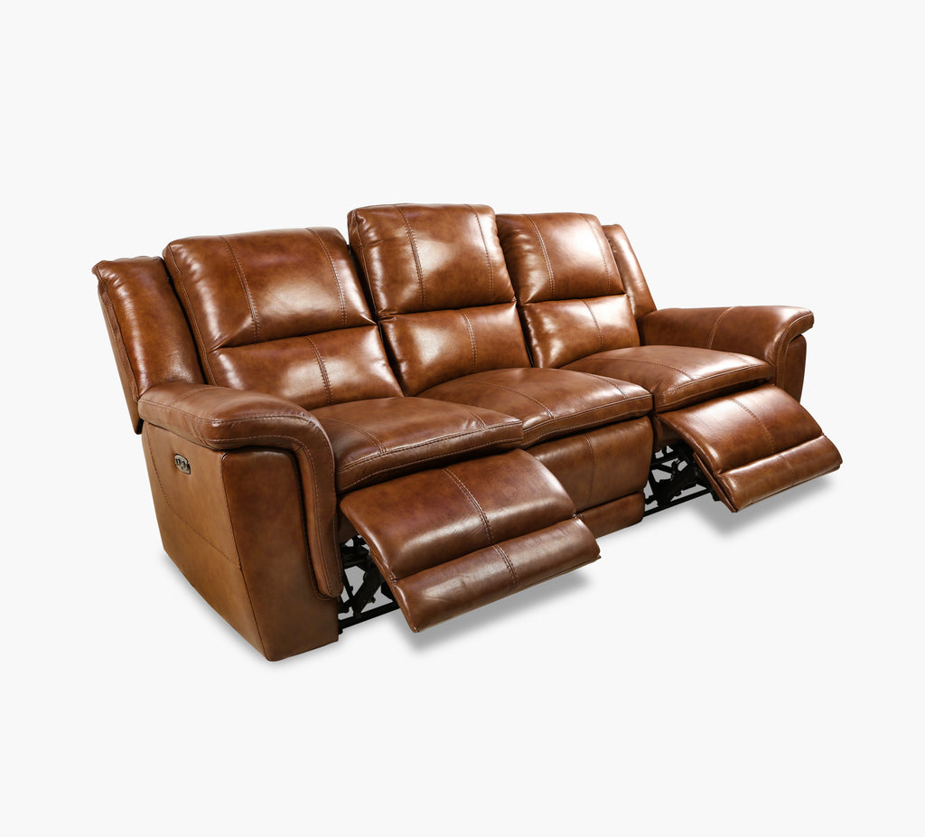 Spartan Leather Power Reclining Sofa With Power Headrest