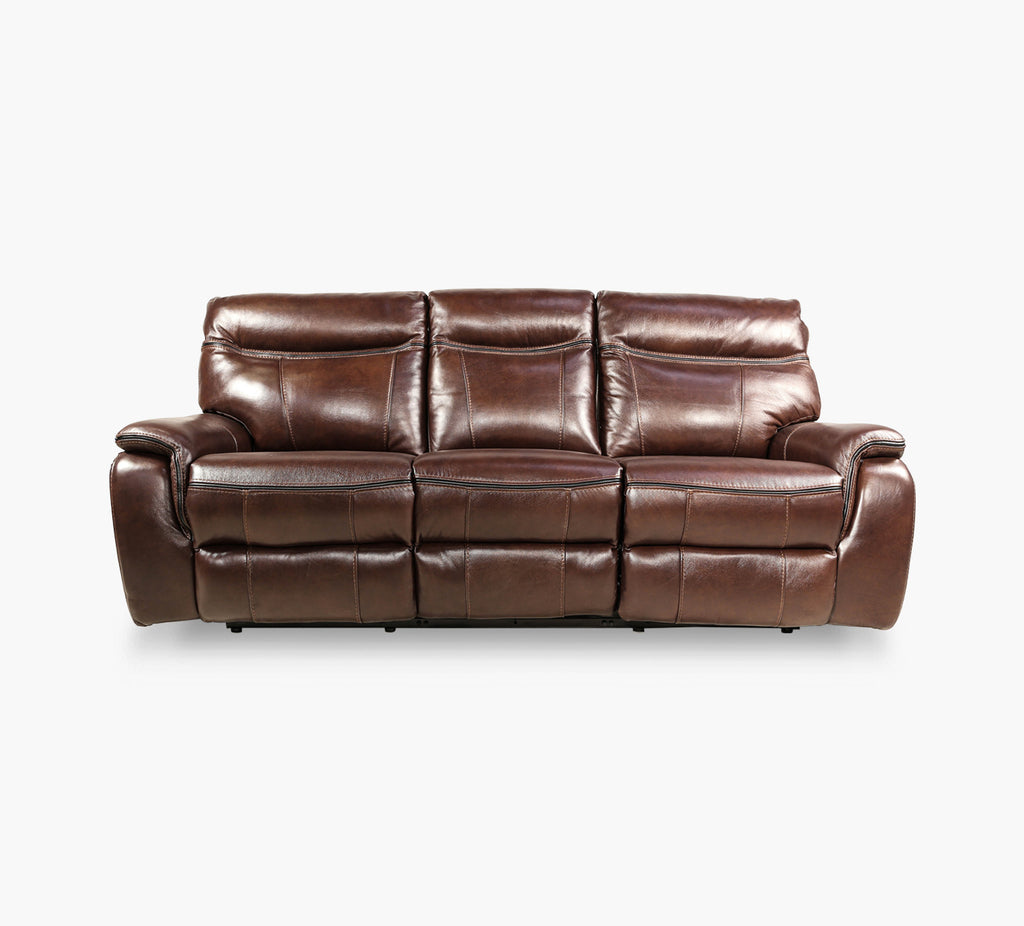 Fentress Brown Leather Power Reclining Sofa With Power