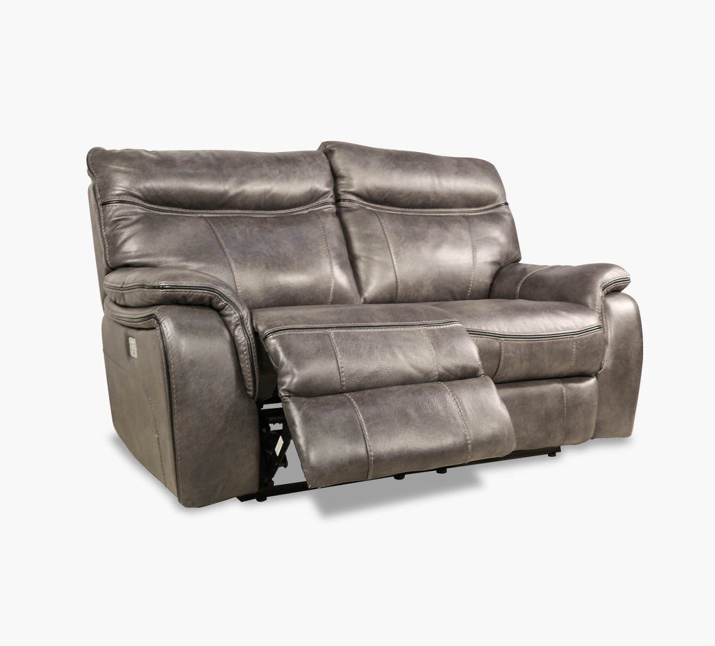 Fentress Grey Leather Power Loveseat With Power Headrest