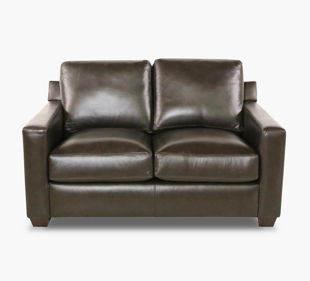 Barclay Walnut Leather Loveseat Kane S Furniture
