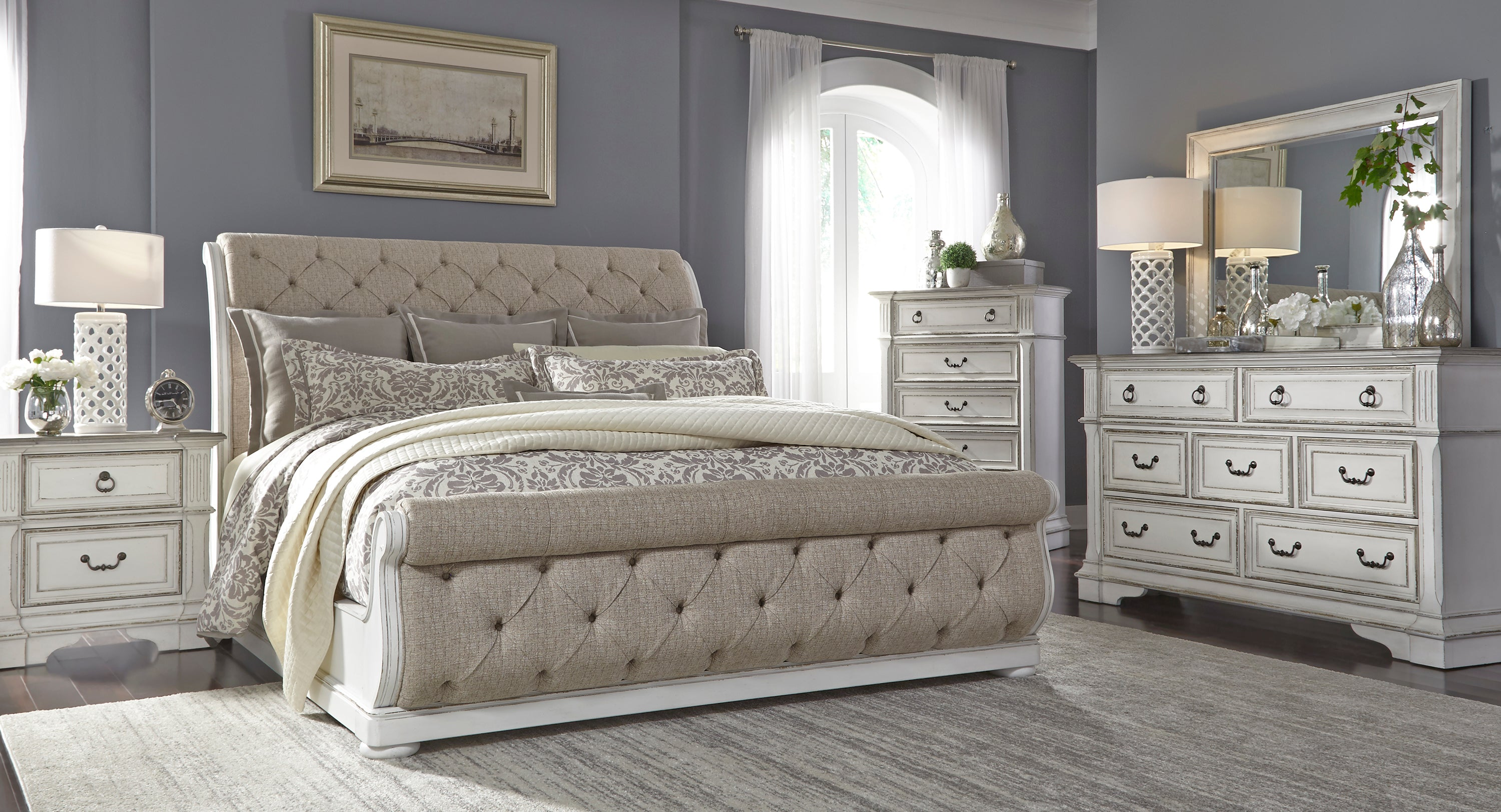 Abbey Park 5 Piece King Upholstered Sleigh Bedroom Kane S Furniture