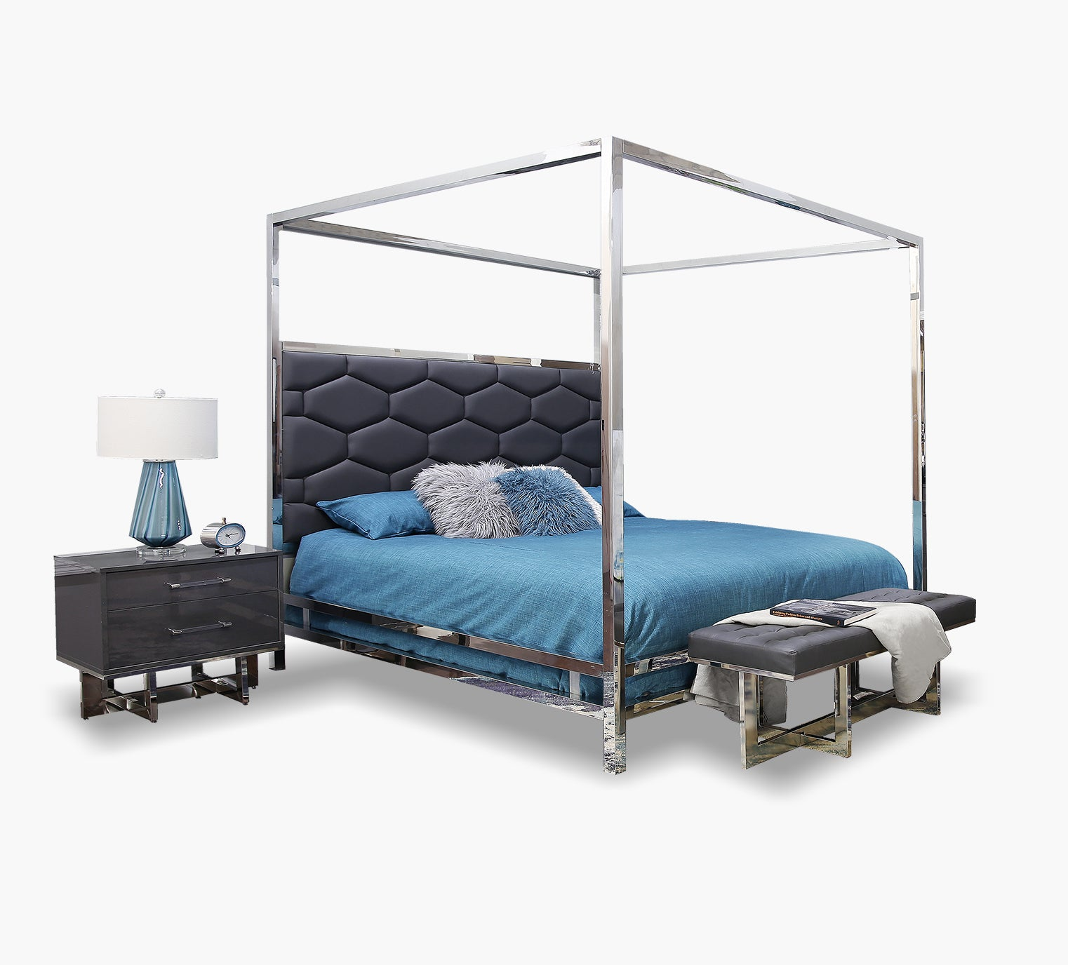 Dante Graphite Queen Canopy Bed Kane S Furniture