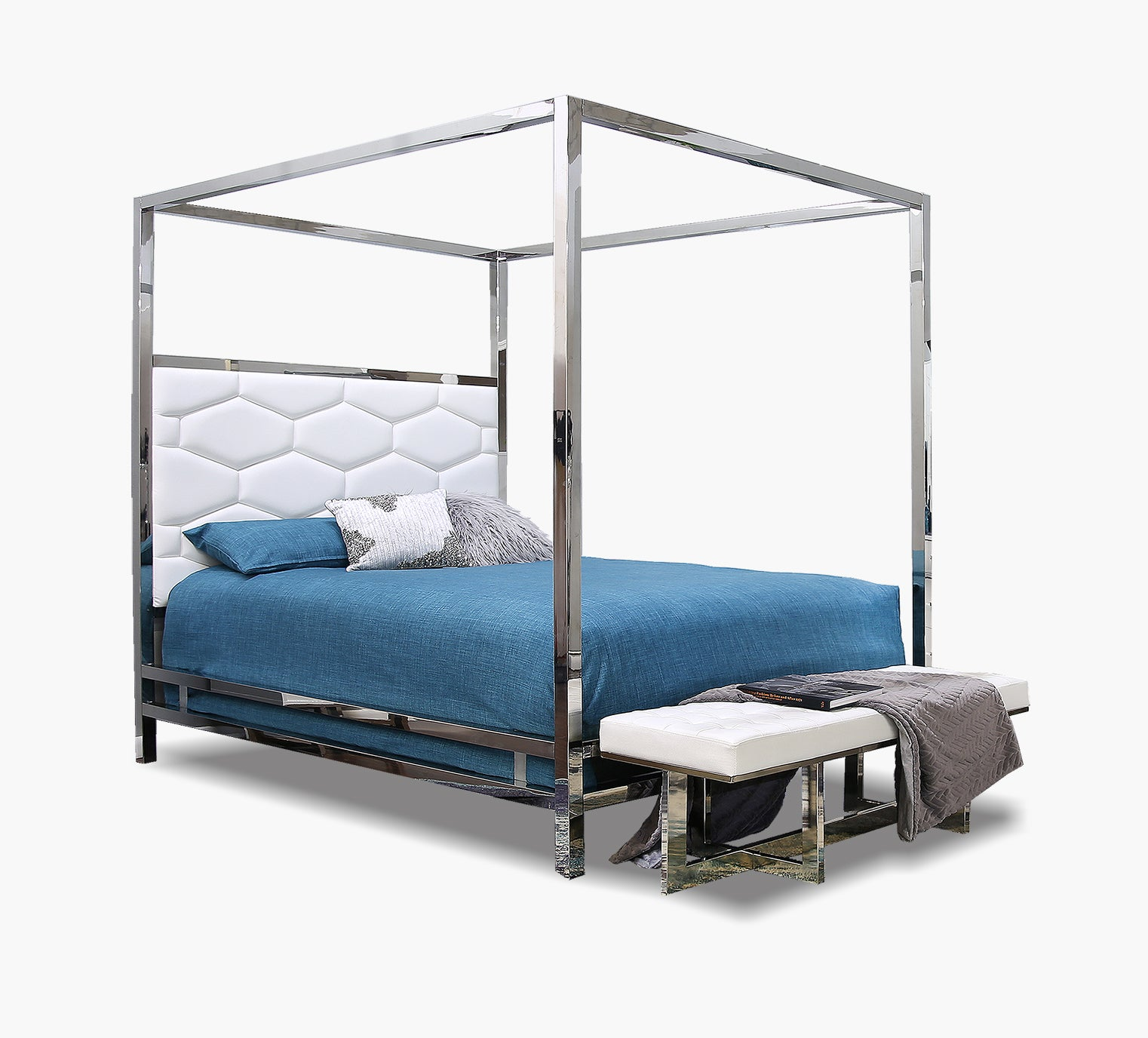 Dante White Queen Canopy Bed Kane S Furniture