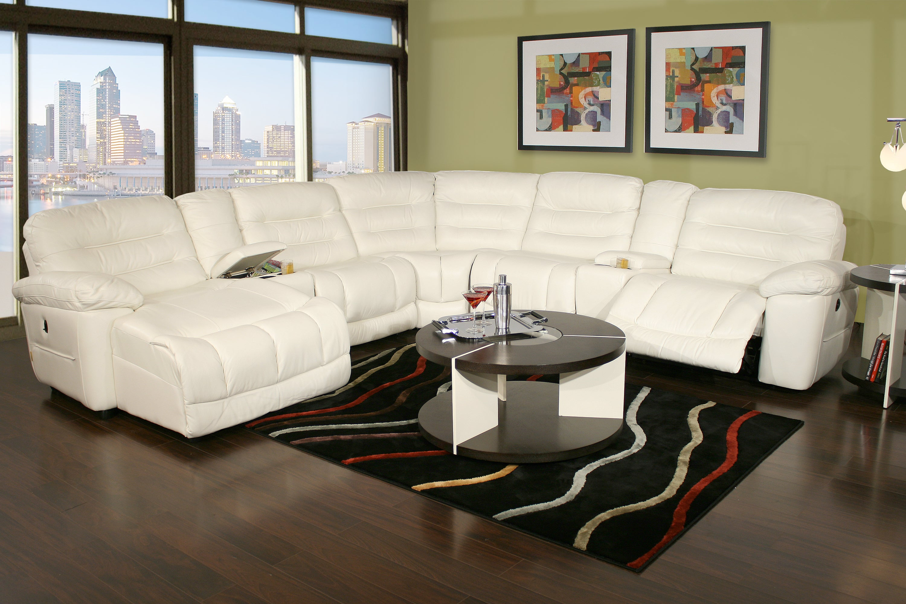 Expo Bone 7 Piece Power Reclining Leather Sectional