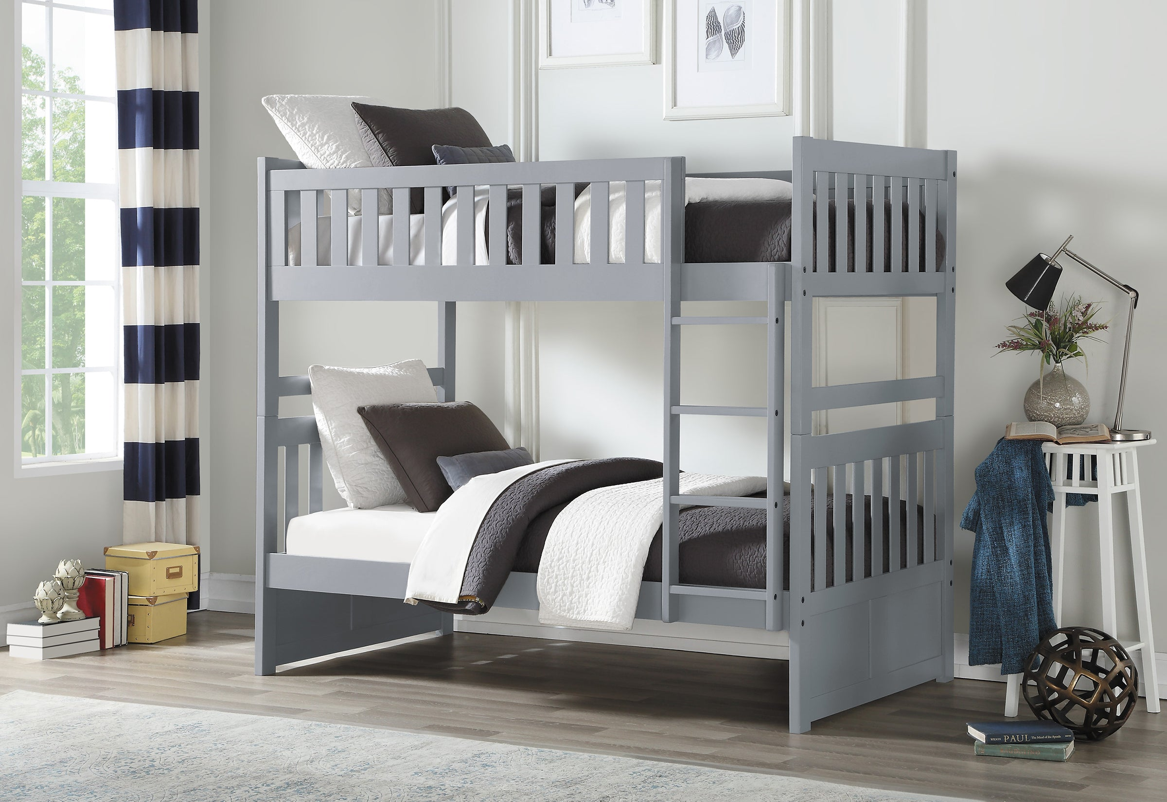 Picture of: Galen Grey Twin Over Twin Bunk Bed Kane S Furniture