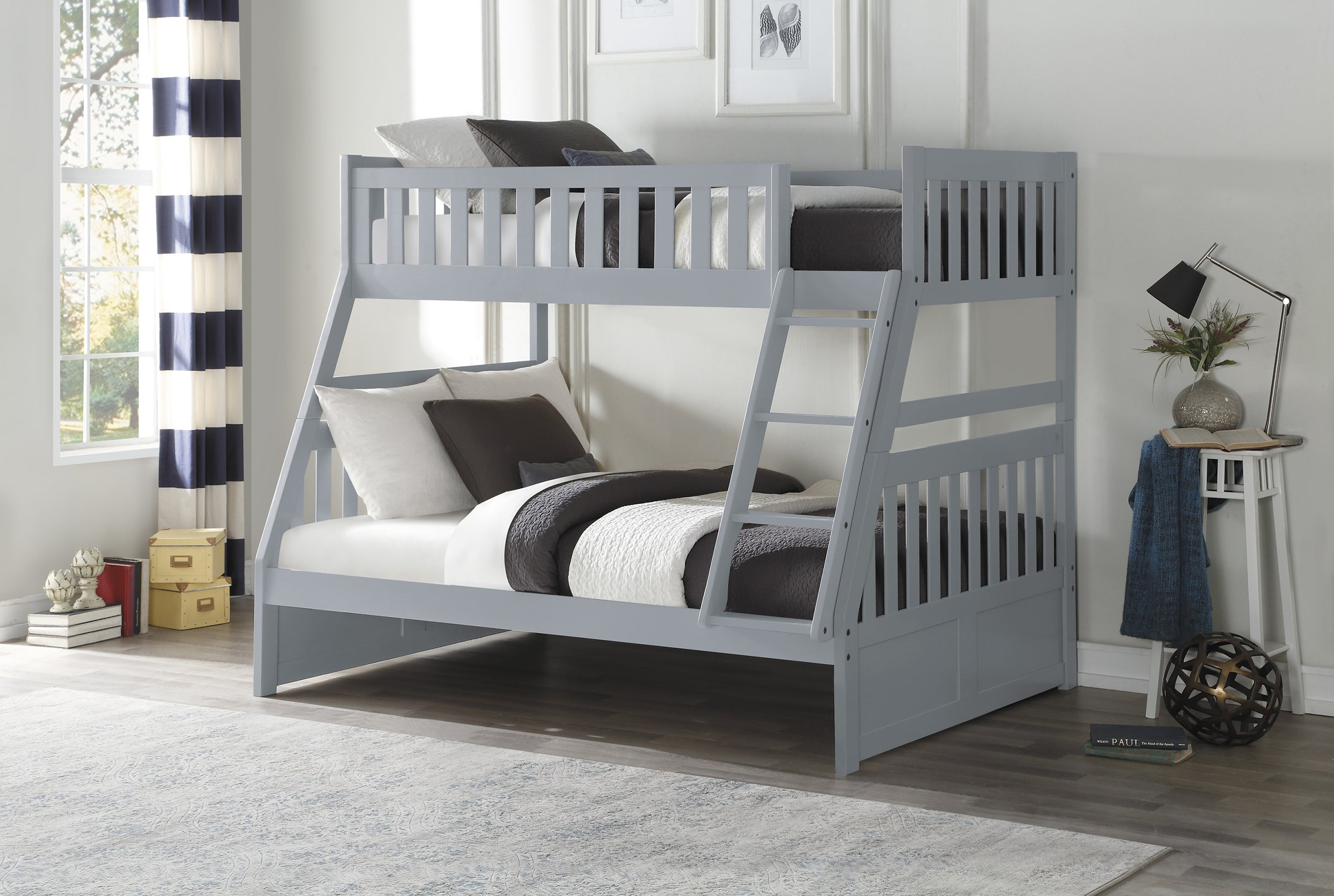 Picture of: Galen Grey Twin Over Full Bunk Bed Kane S Furniture