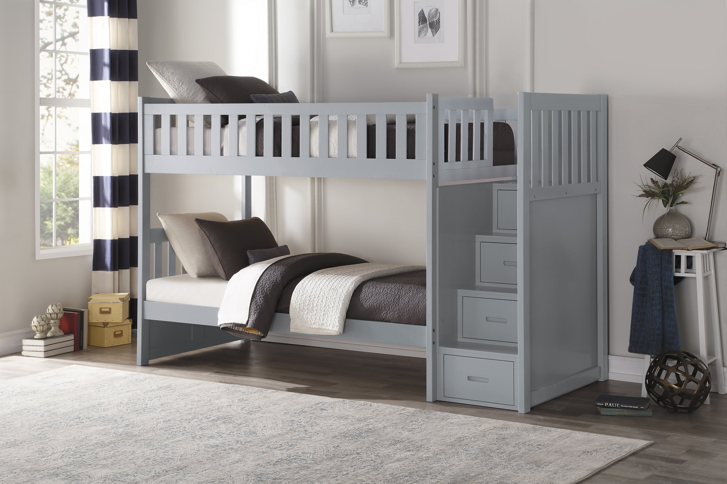 Picture of: Galen Grey Twin Over Twin Step Bunk Bed Kane S Furniture