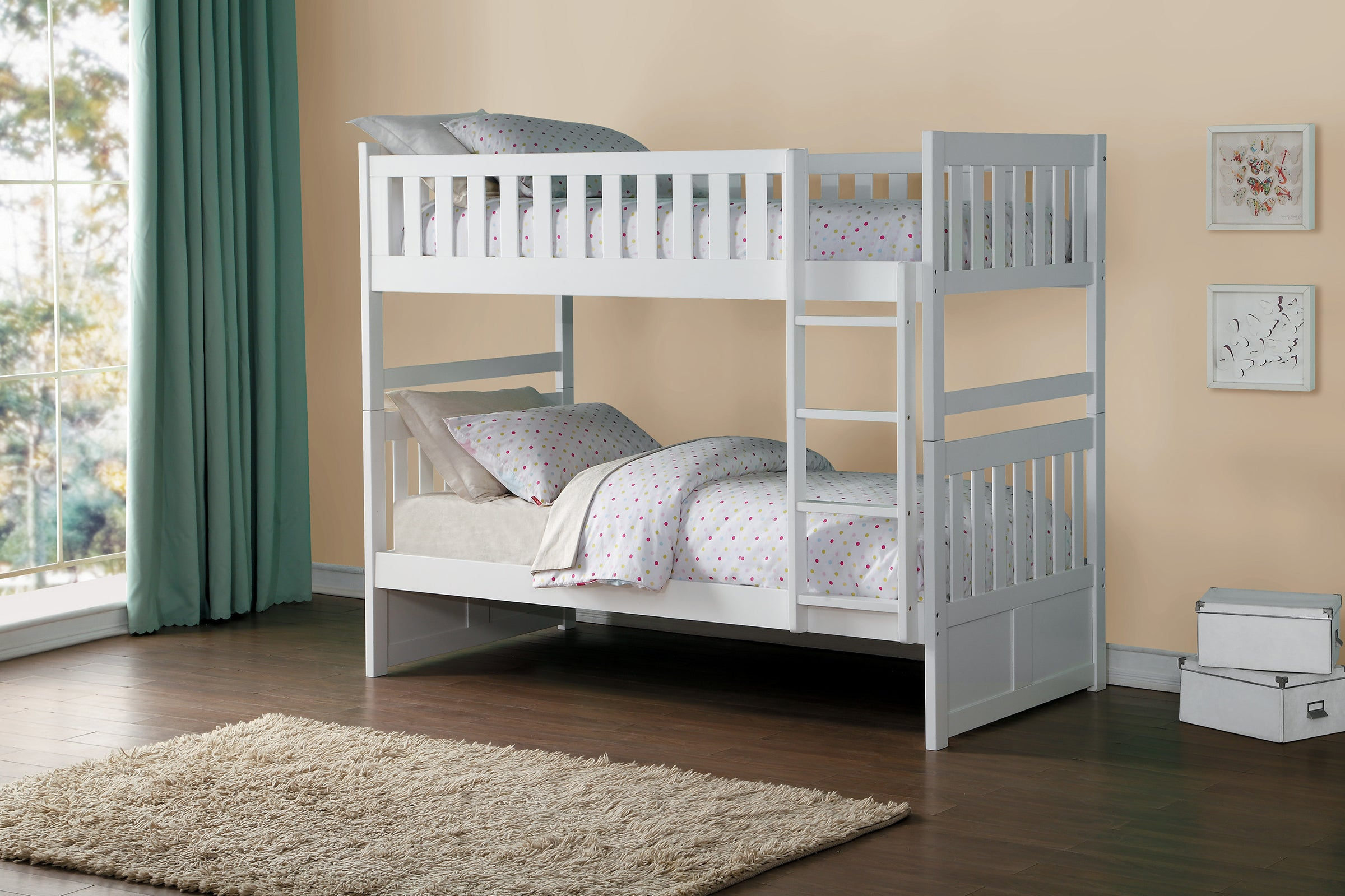 Galen White Twin Over Twin Bunk Bed Kane S Furniture
