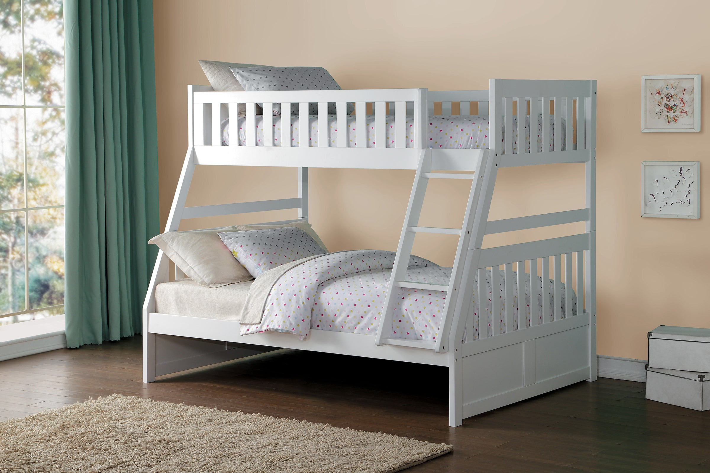 Picture of: Galen White Twin Over Twin Step Bunk Bed Kane S Furniture