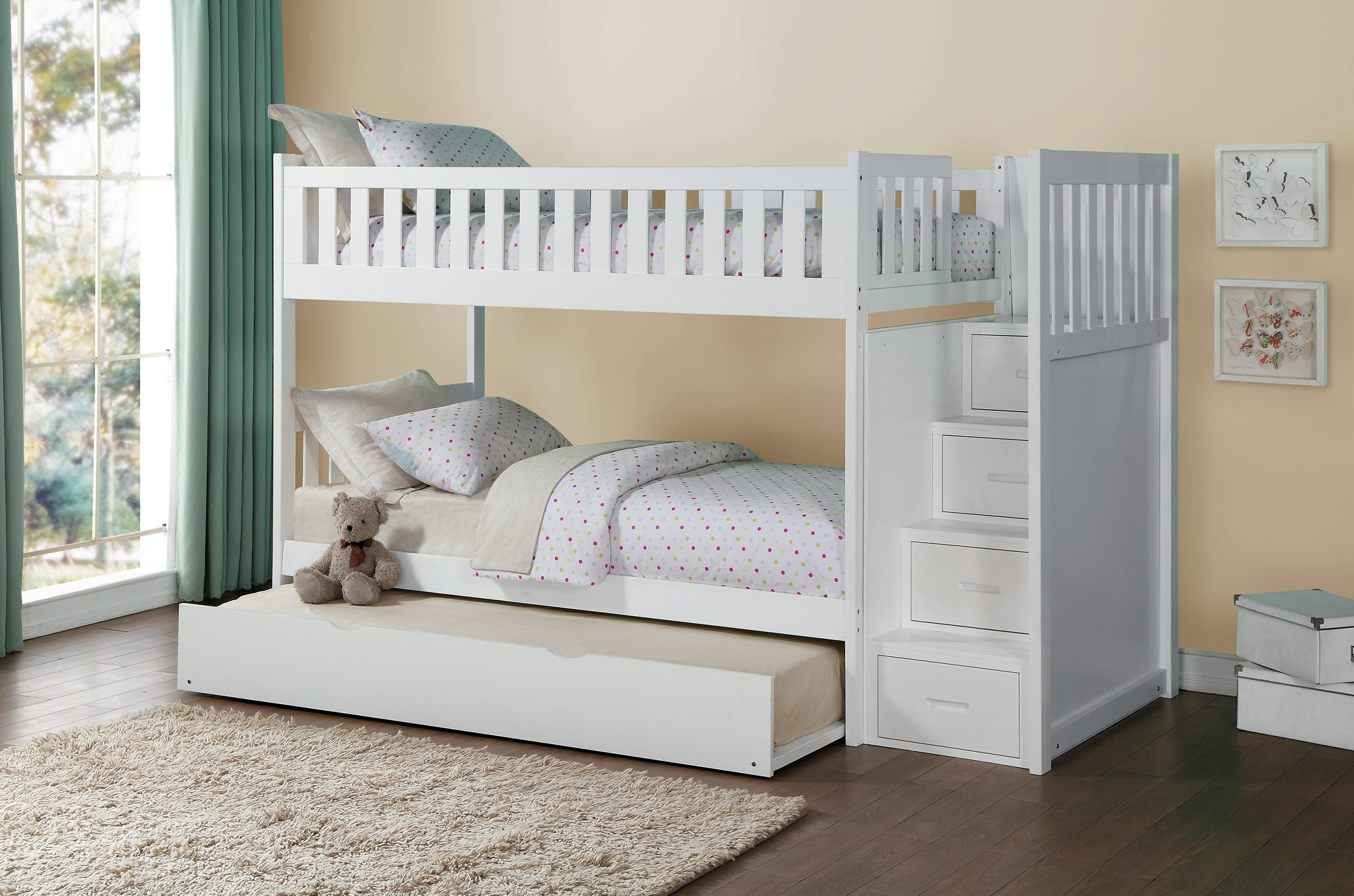 Galen White Twin Over Twin Step Bunk Bed Kane S Furniture