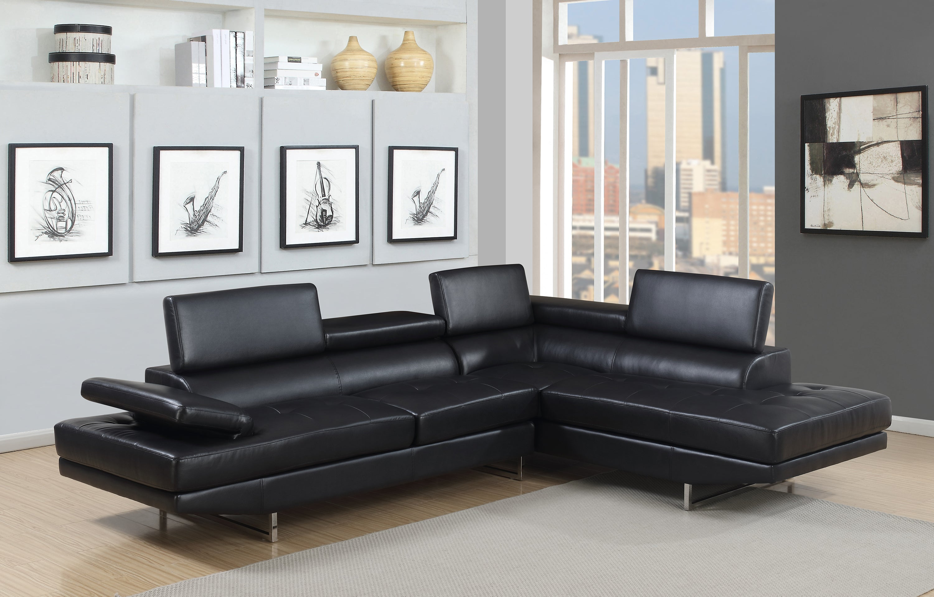 Picture of: Giovanni Black 2 Piece Sectional Sofa Kane S Furniture