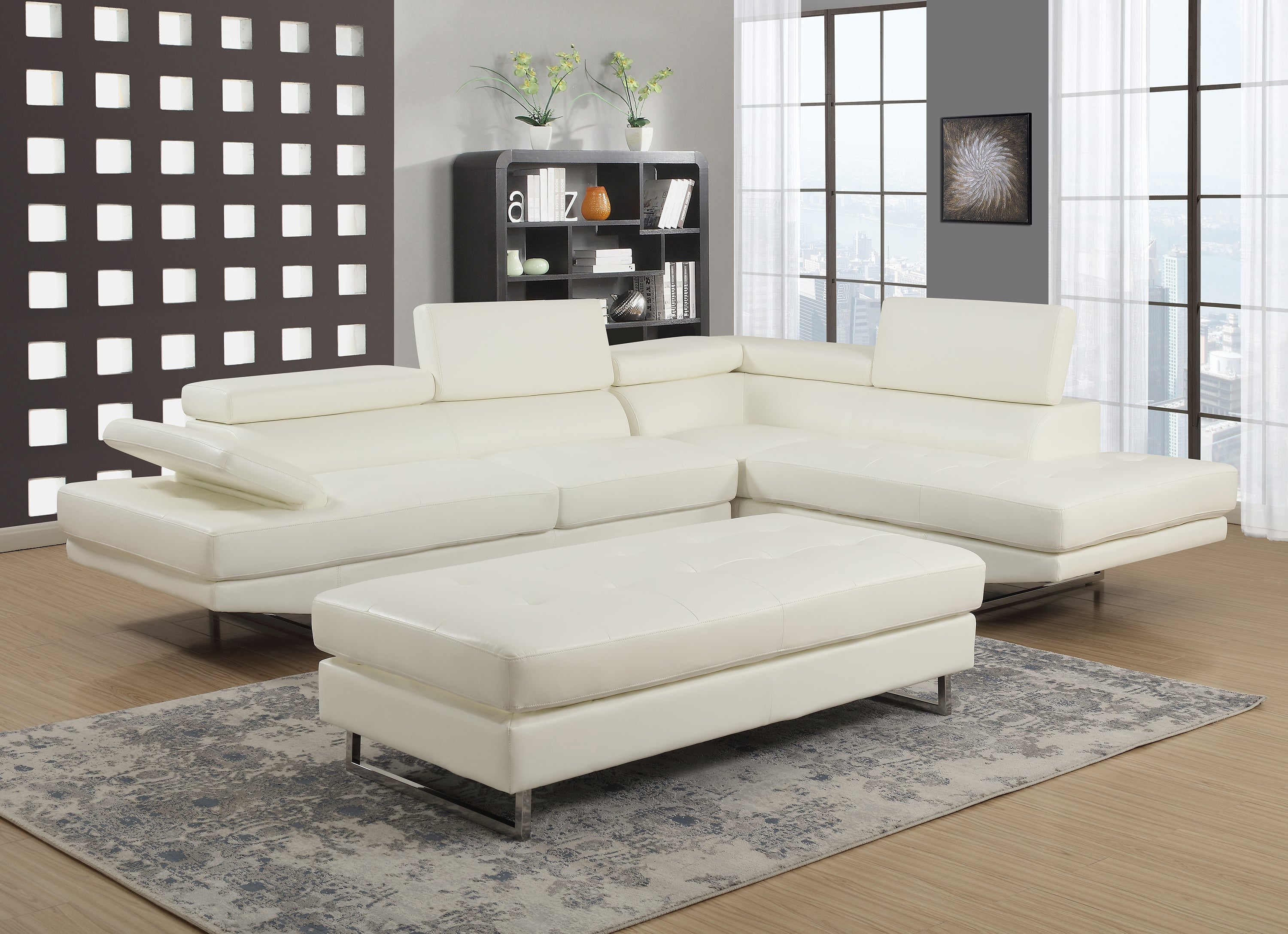 Giovanni White 2 Piece Sectional Sofa Kane S Furniture