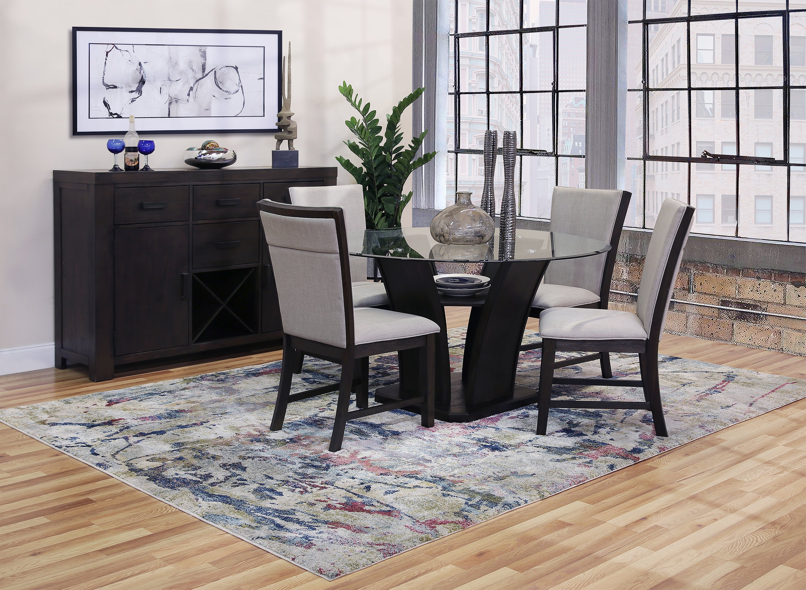 Haidee 5 Piece Dining Set With Upholstered Chairs Kane S Furniture