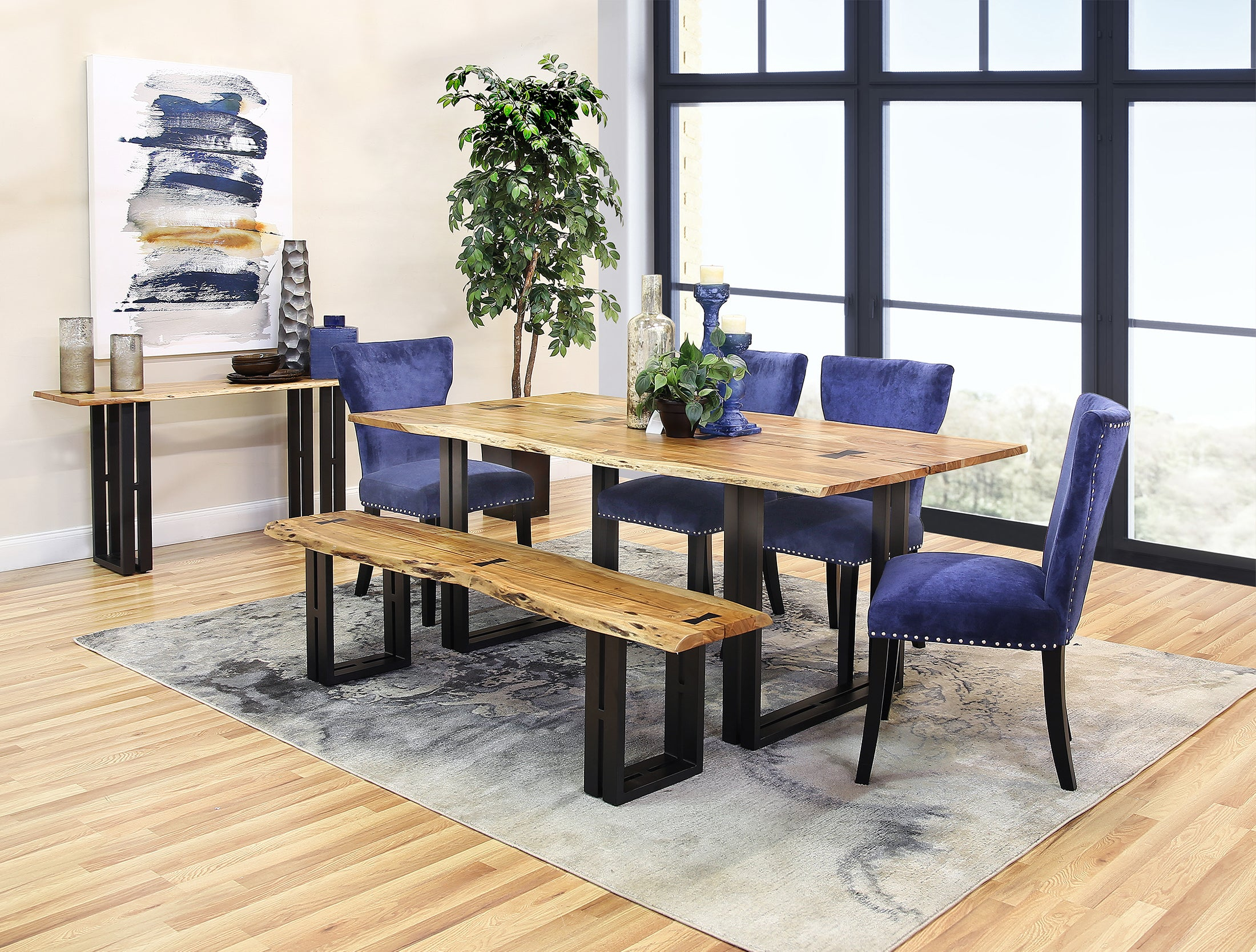 Kincaid 5 Piece Dining Set With Royal Blue Chairs Kane S Furniture