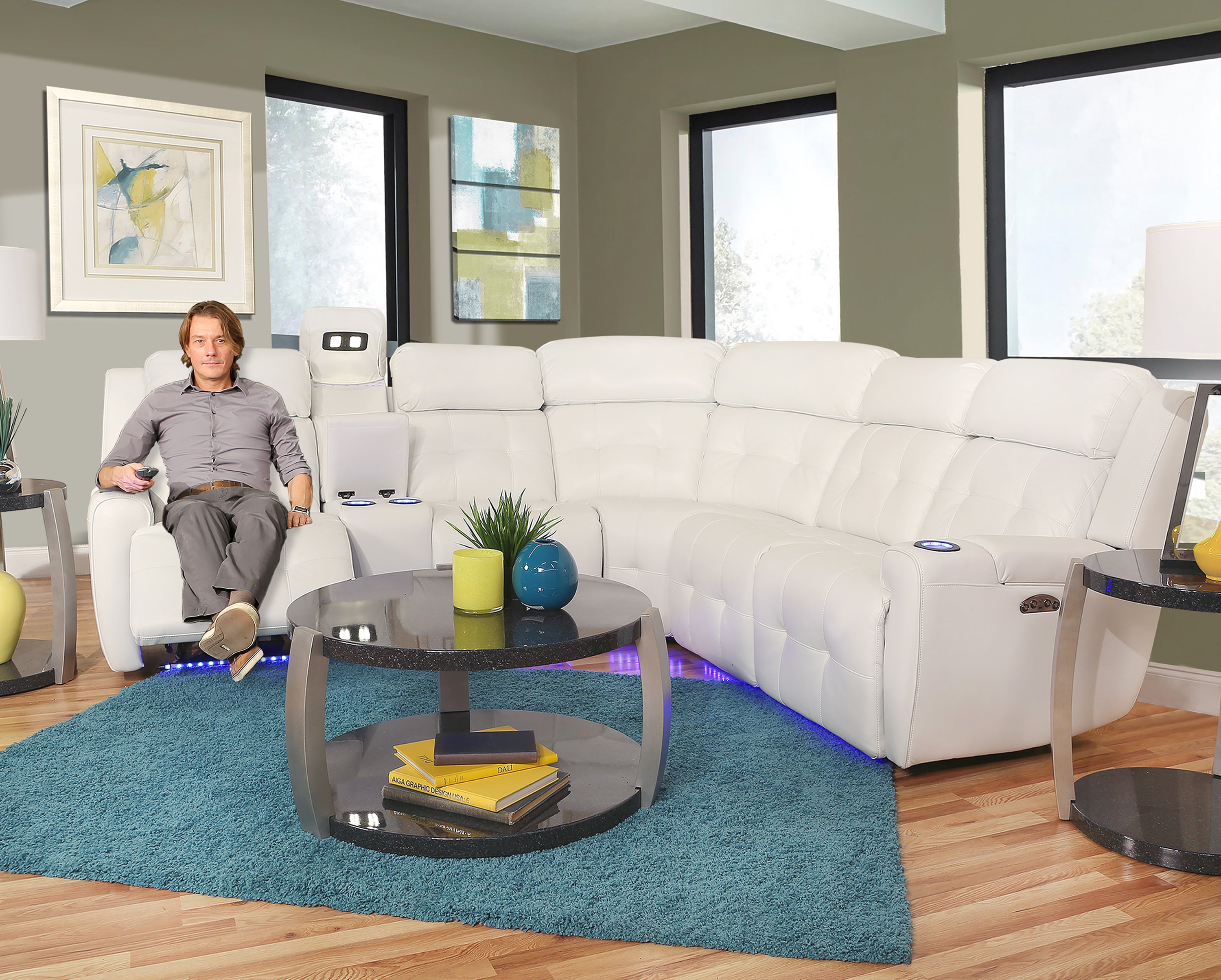 Picture of: Magneto Ii White 3 Piece Dual Power Reclining Sectional Sofa Kane S Furniture