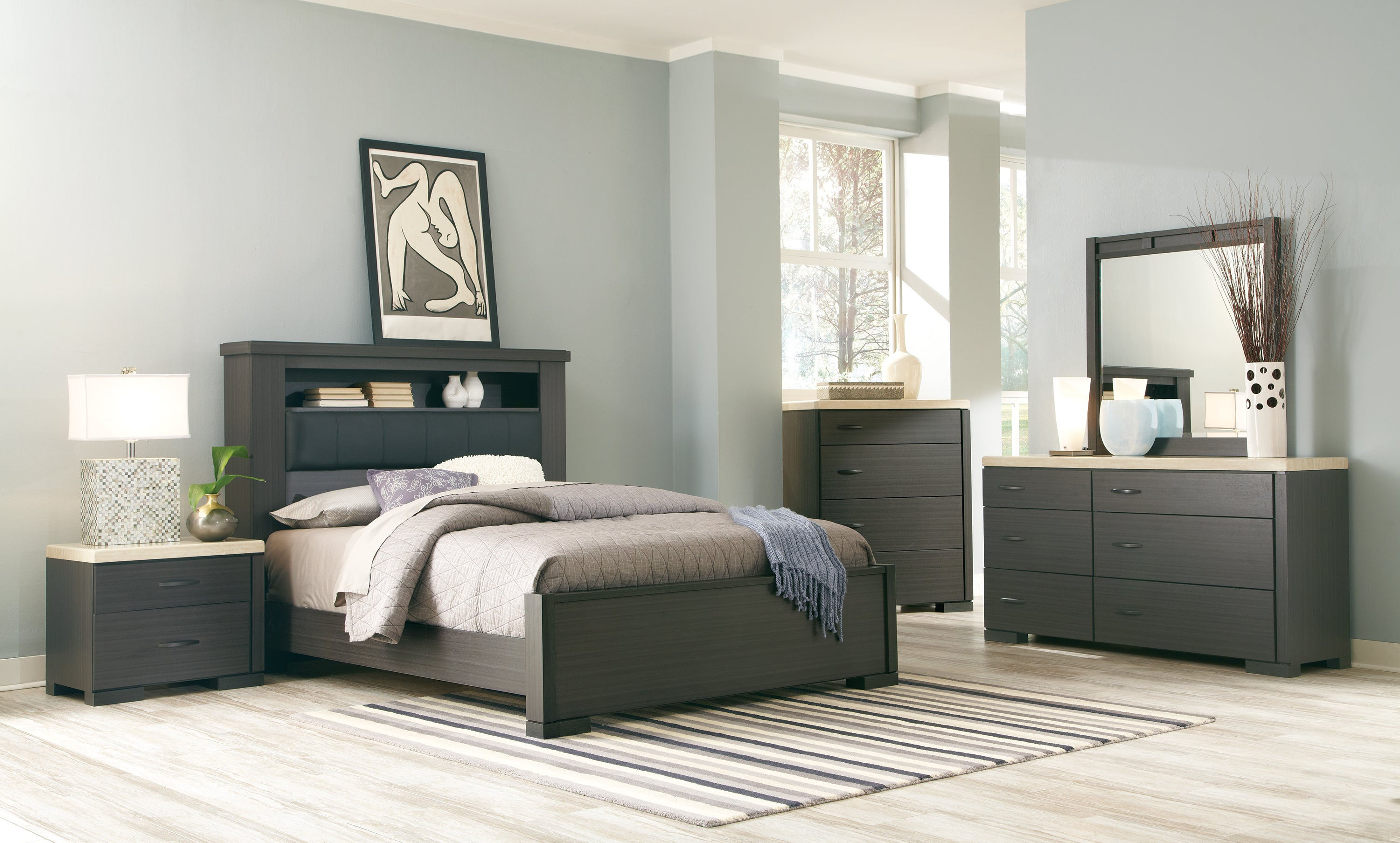 Motivo Charcoal 5 Piece King Bookcase Bedroom