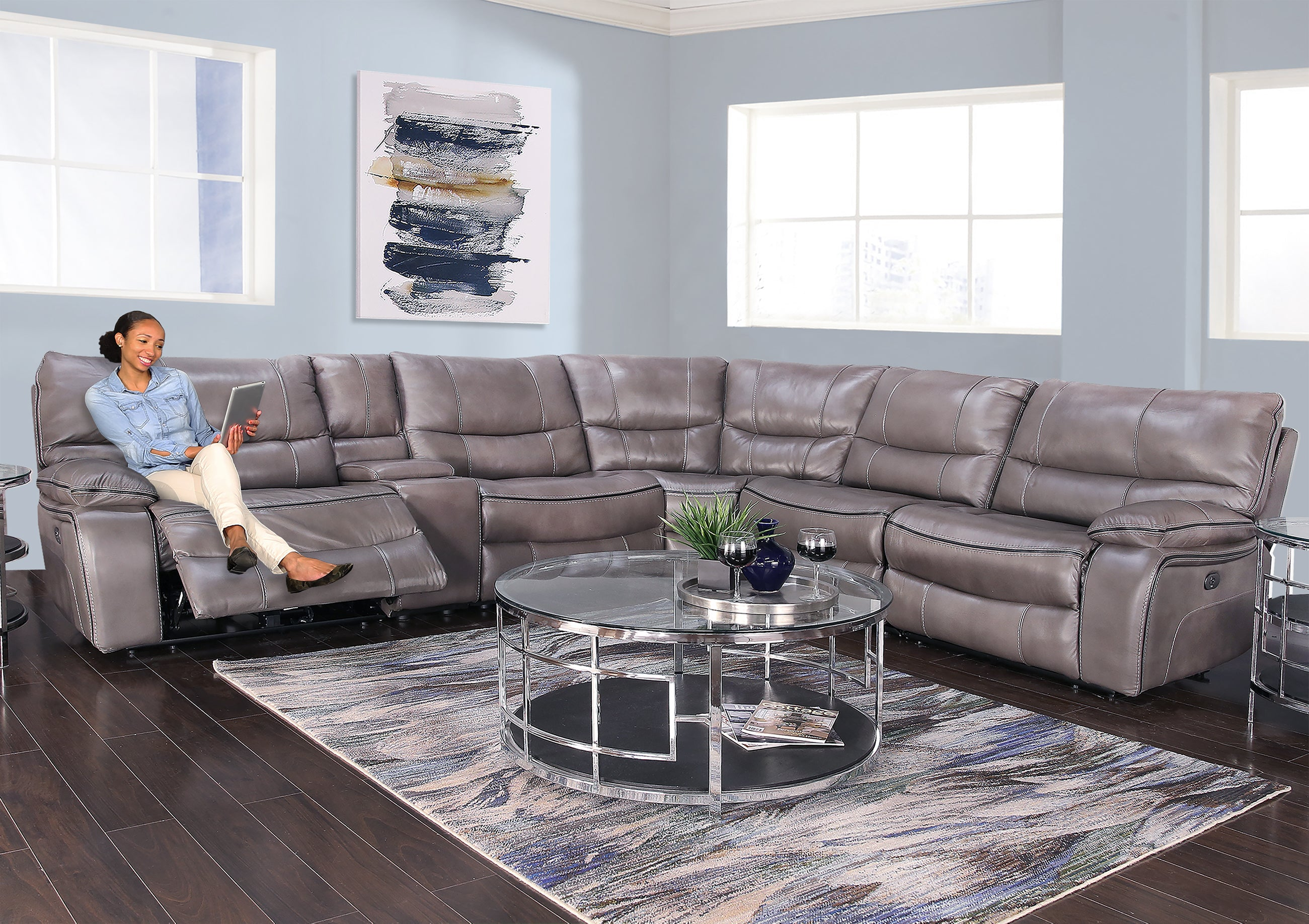 Nappa Charcoal 6 Piece Leather Dual Power Reclining Sectional Sofa Kane S Furniture