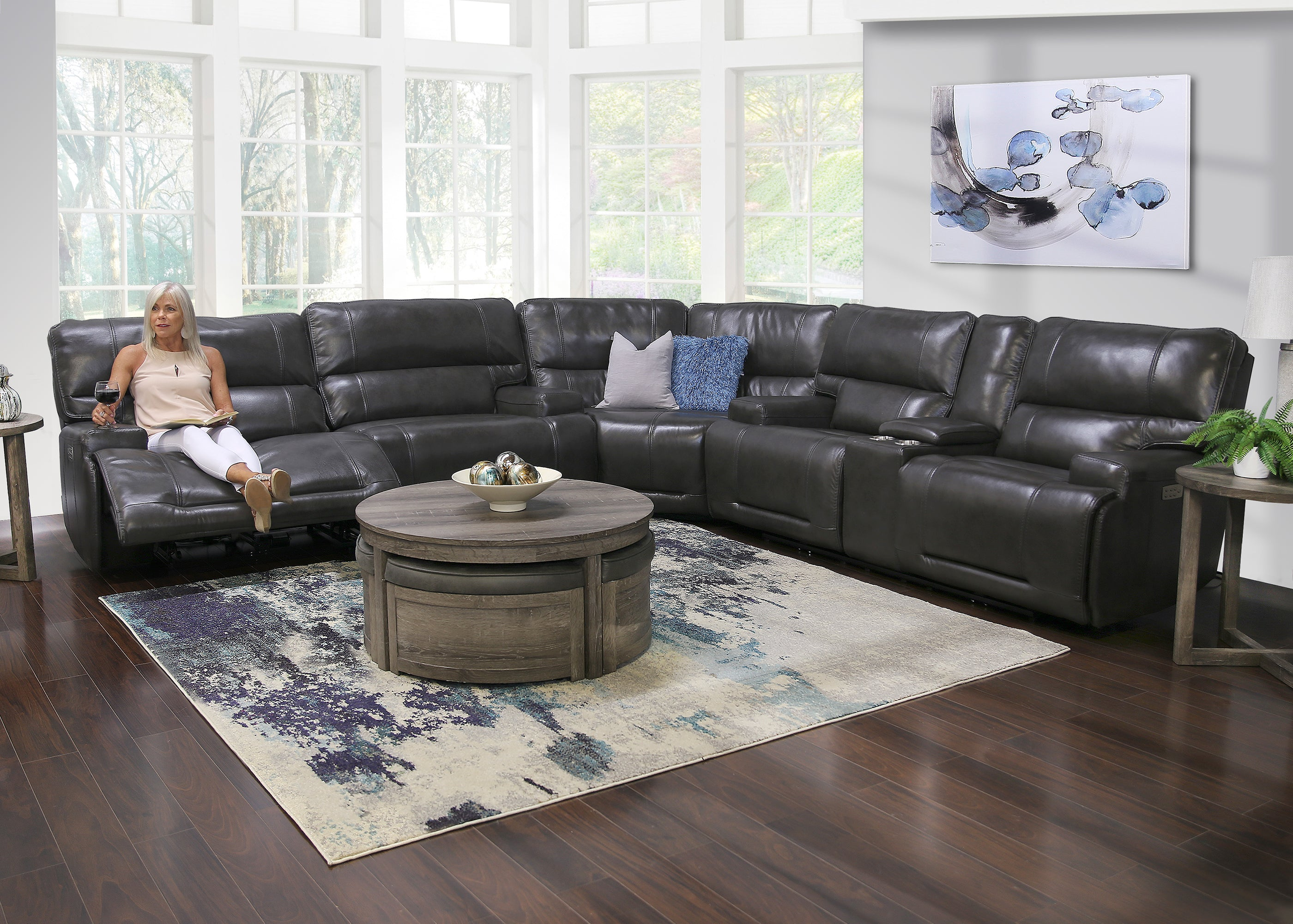 Picture of: Nova 3 Piece Leather Triple Power Reclining Sectional Sofa Kane S Furniture