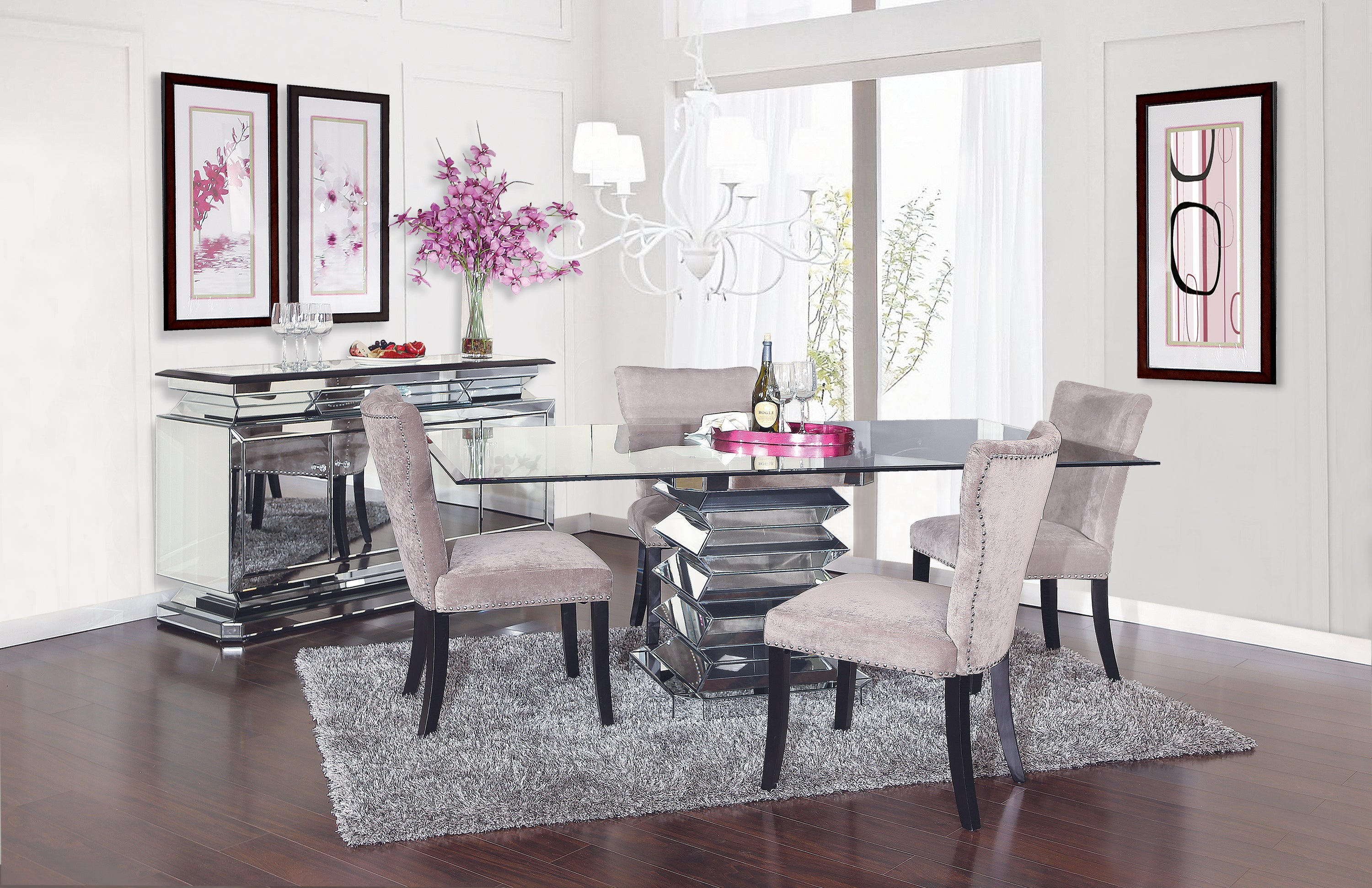 Prism 9 Piece Dining Set with Platinum Chairs