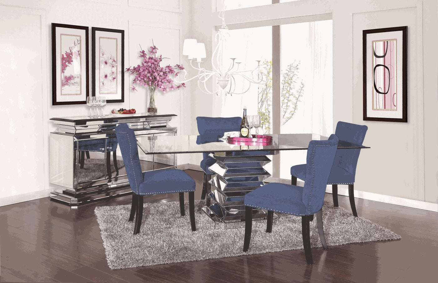 Prism 5 Piece Dining Set With Royal Blue Chairs Kane S Furniture