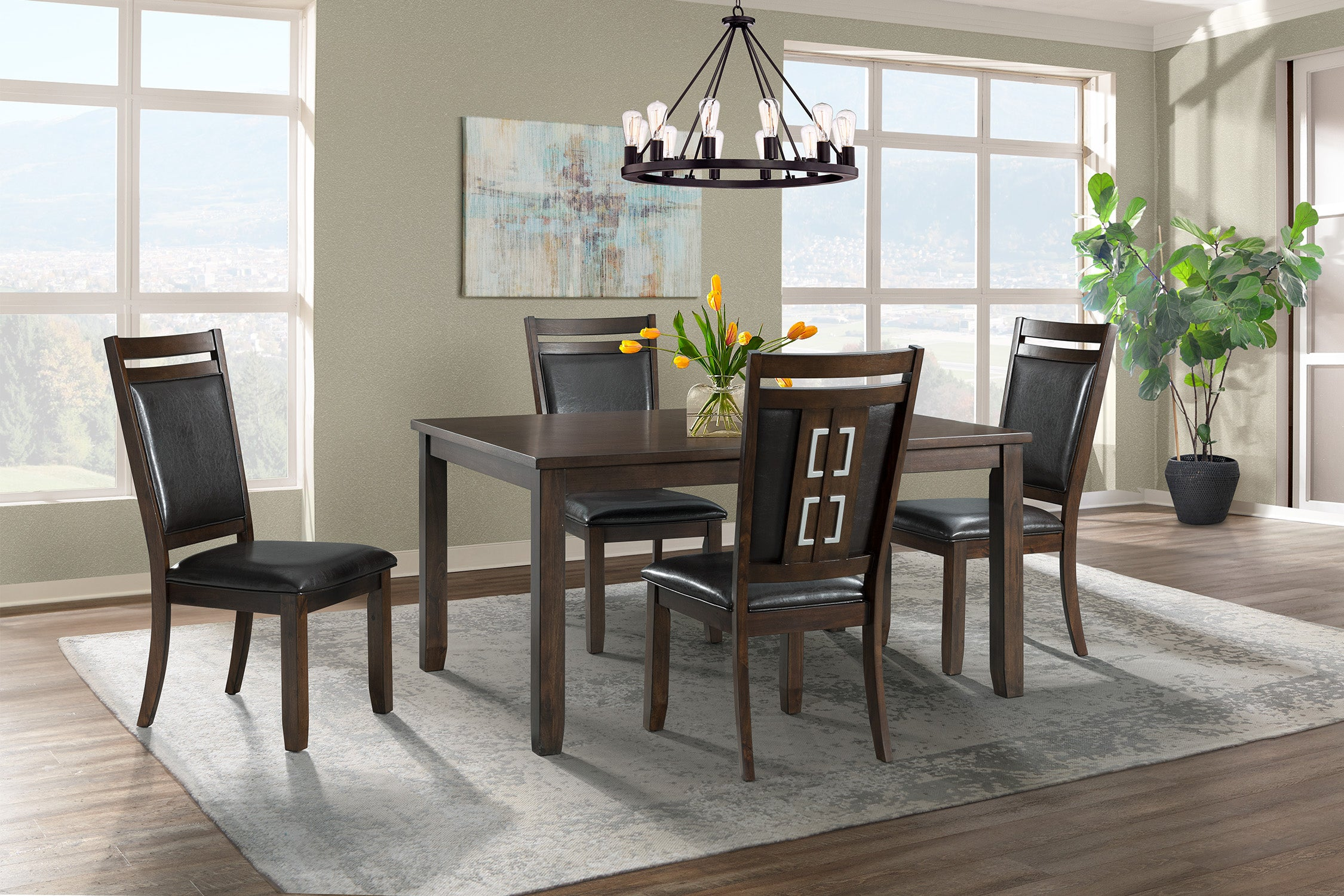 Rolex Espresso 5 Piece Dining Set With Upholstered Chair Kane S Furniture