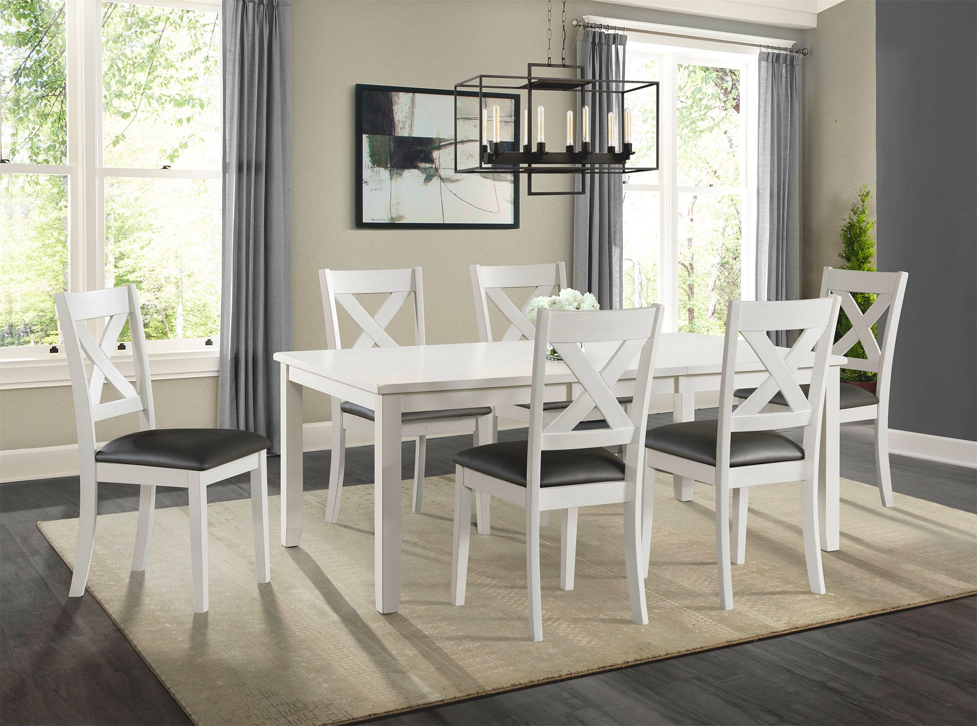 Rolex White 5 Piece Dining Set With Upholstered Chair Kane S Furniture