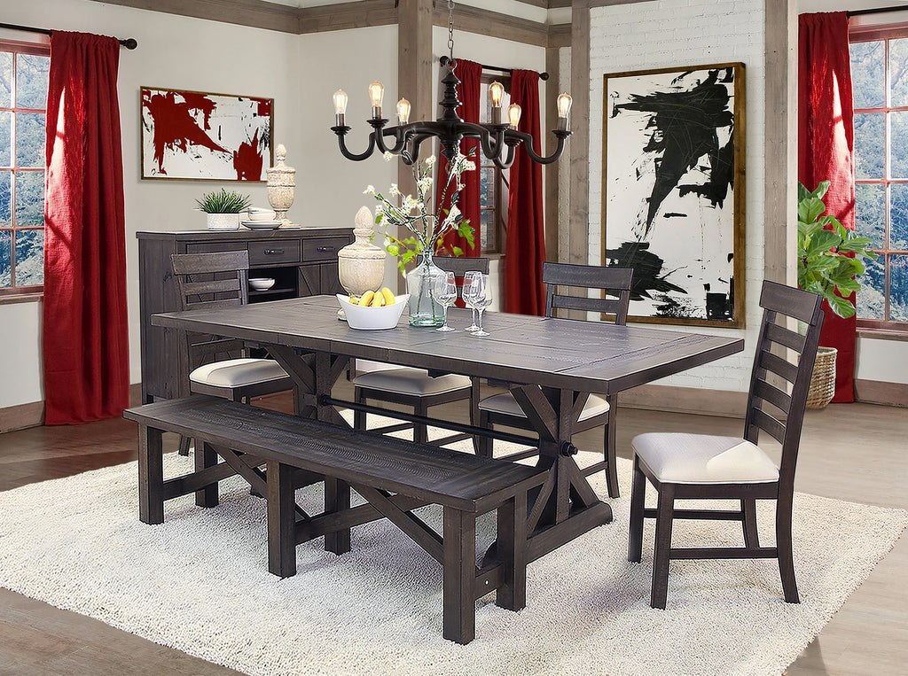 Saw Buck 5 Piece Dining Set With Ladder Back Chairs Kane
