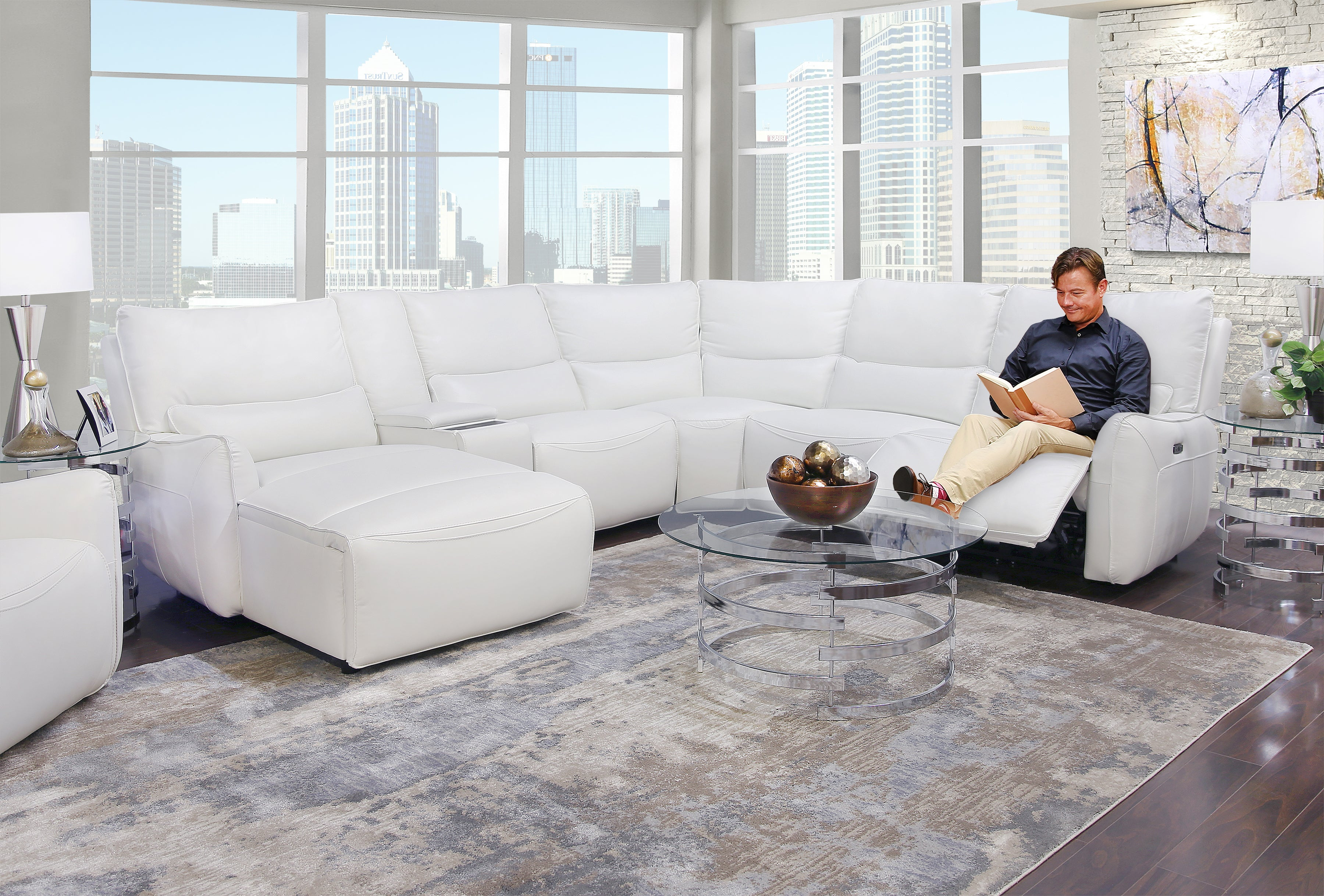 Picture of: Senna White 6 Piece Leather Dual Power Reclining Sectional Sofa Kane S Furniture