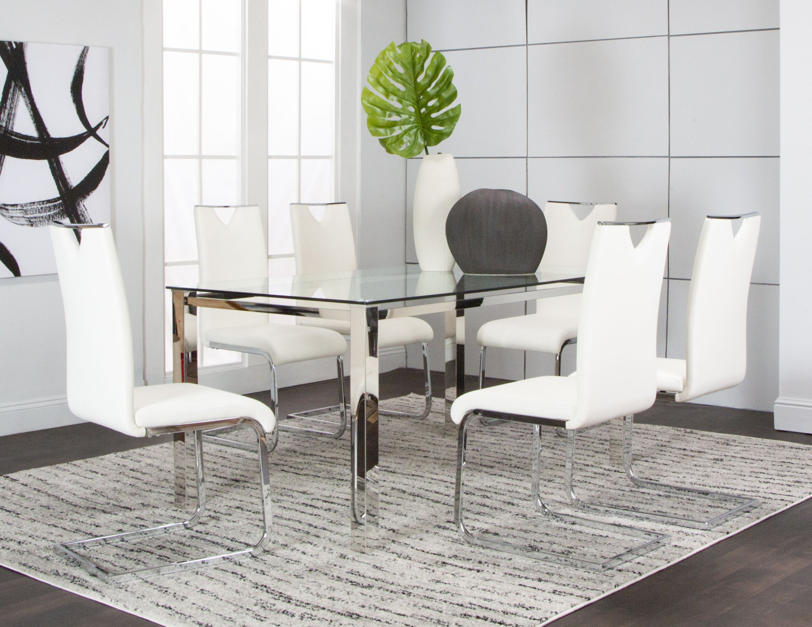 Skyline 5 Piece Dining Set With White Chairs Kane S Furniture
