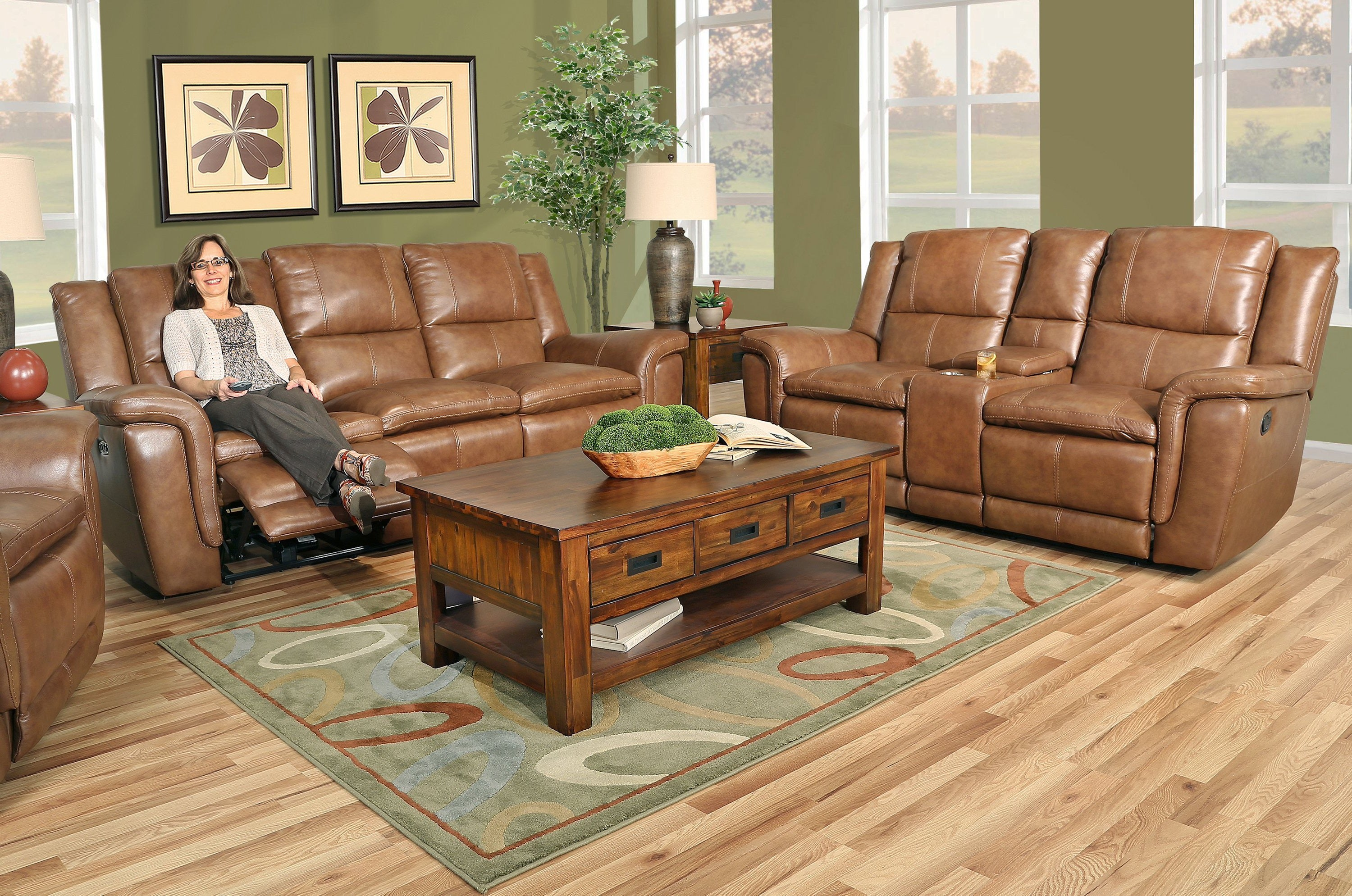 Spartan 9 Piece Leather Reclining Living Room