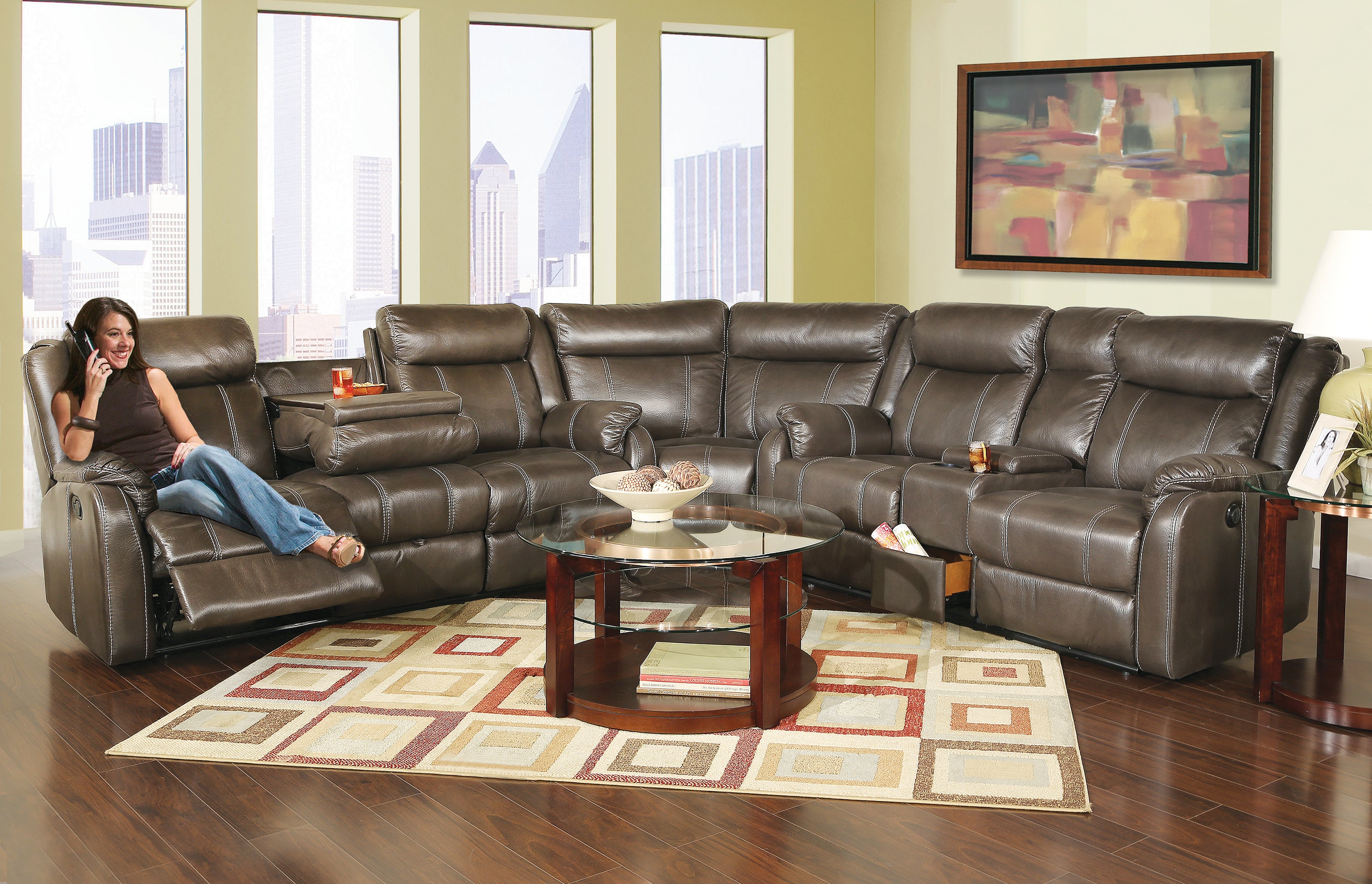Picture of: Wyatt 3 Piece Reclining Sectional Sofa Kane S Furniture