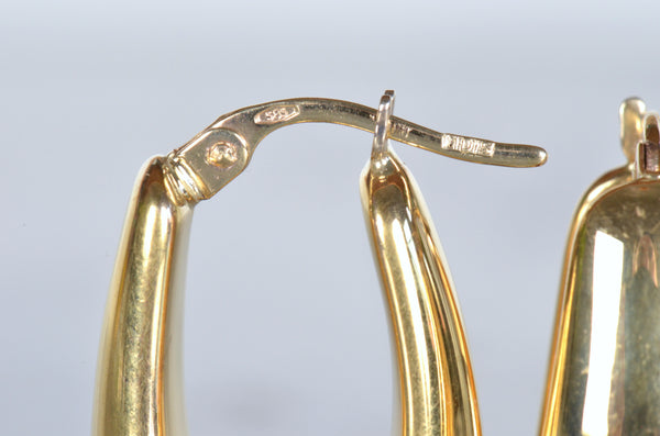 Curvy Oblong Gold Estate Hoops