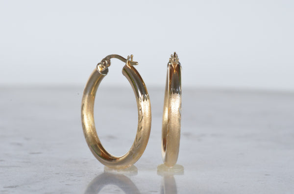 Textured Gold Estate Hoops