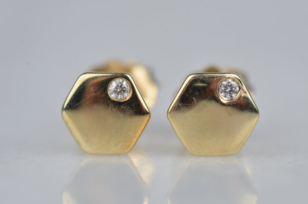Estate Geometric Diamond Plate Studs