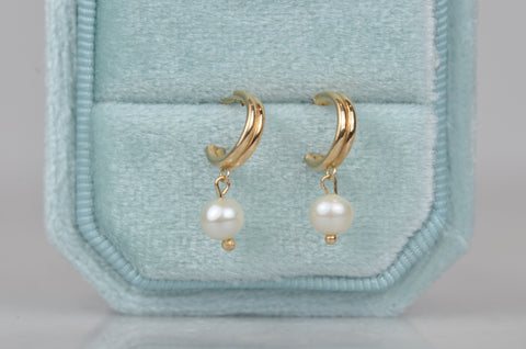 Petite Estate Dangling Pearl Hoops