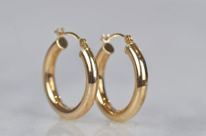 Classic Estate Gold Tube Hoops