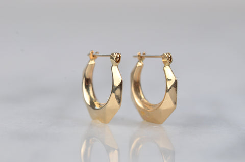 Sexy Facetted Gold Hoops