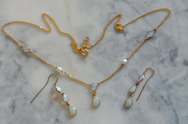 Delicate Opal and Pearl Drop Necklace