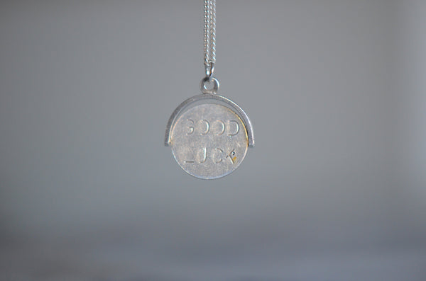 "Vintage Silver ""Good Luck"" Spinner Charm"