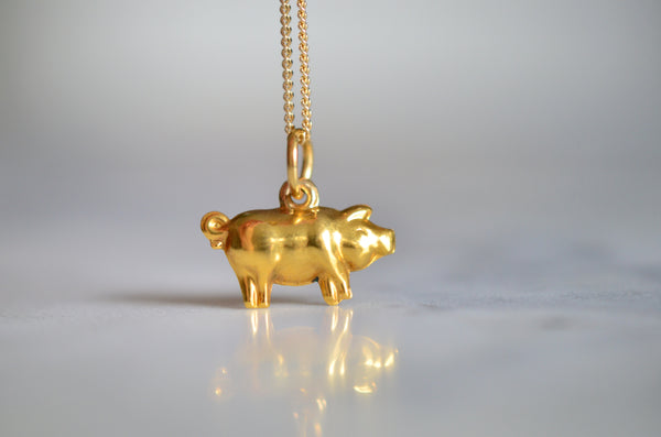 Golden Lucky Pig Vintage Charm