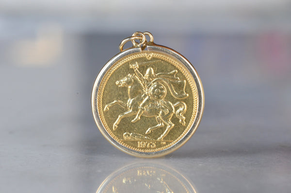 Isle of Man 1973 Sovereign Coin Necklace