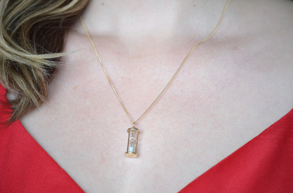 Silver Sands Vintage Hourglass Charm
