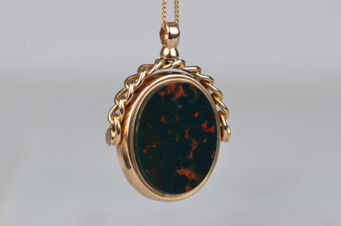 Dreamy and Heavy Carnelian and Bloodstone Spinner Fob
