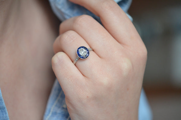 Stunning Art Deco Style Sapphire and Diamond Target Ring